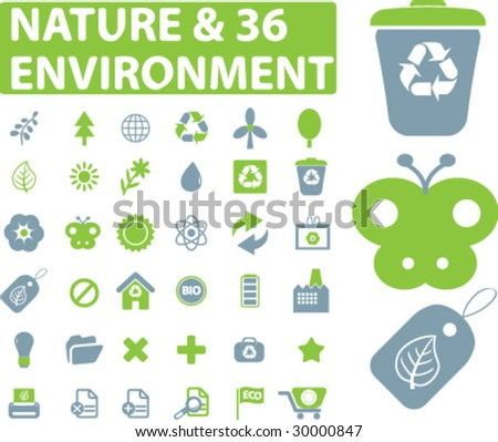 36 nature and environment signs - vector