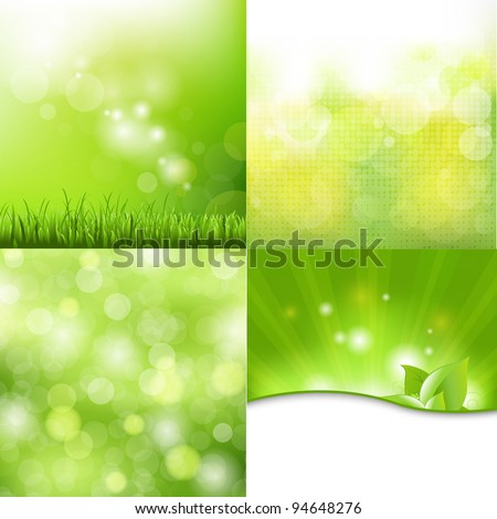 4 Nature Background, Vector Illustration - stock vector