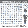 100 nature & design icons, signs, vector illustrations set - stock vector