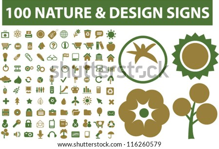 100 nature & design signs, icons set, vector - stock vector