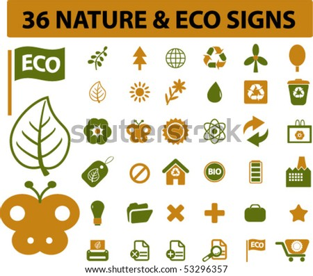 36 nature & eco signs. vector