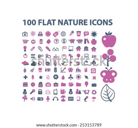 100 nature, ecology, enviroment concept - flat isolated icons, signs, illustrations set, vector - stock vector