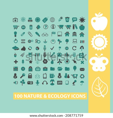100 nature, ecology, environment black flat icons, signs, symbols set, vector - stock vector