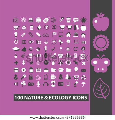 100 nature, ecology, environment icons, signs, illustrations set, vector - stock vector
