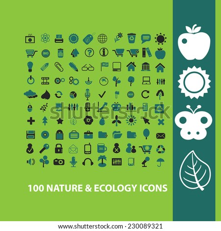100 nature, ecology, tree icons, signs, illustrations set, vector