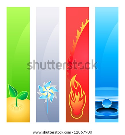 4 nature element (earth, wind, fire, water) banner or sider backgrounds. Base banner size is 120x600. - stock vector