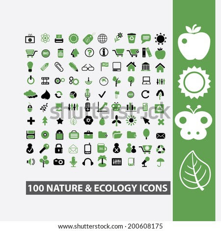 100 nature, environment, tree, leaf, butterfly, ecology icons, signs set, vector - stock vector