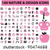 100 nature icons set, signs, vector illustration - stock photo