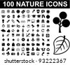 100 nature icons set, vector - stock photo