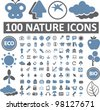 100 nature icons set, vector - stock vector
