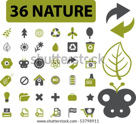 36 nature signs. vector