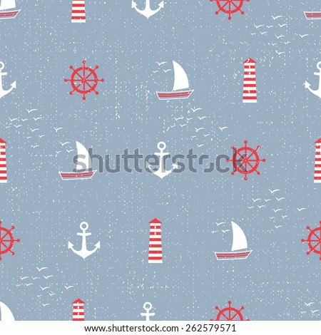 Navy vector seamless sea pattern: anchor, sailboat, lighthouse, steering wheel, seagull. Cute nautical background. Marine life Background Collection. Baby shower vector illustration.. - stock vector