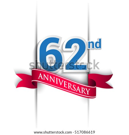 62nd Anniversary celebration logo, Vector design template elements for your birthday party.