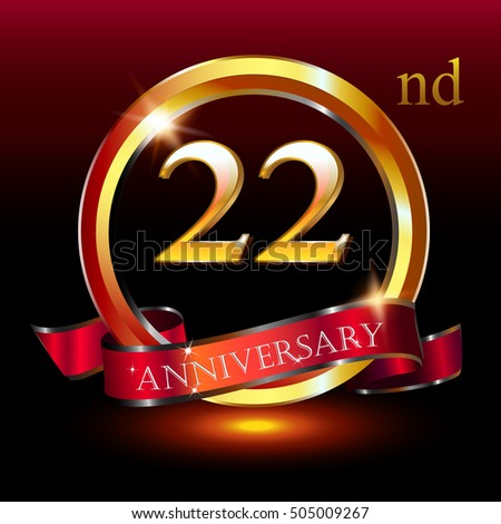22nd golden anniversary logo 22 years stock vector royalty free