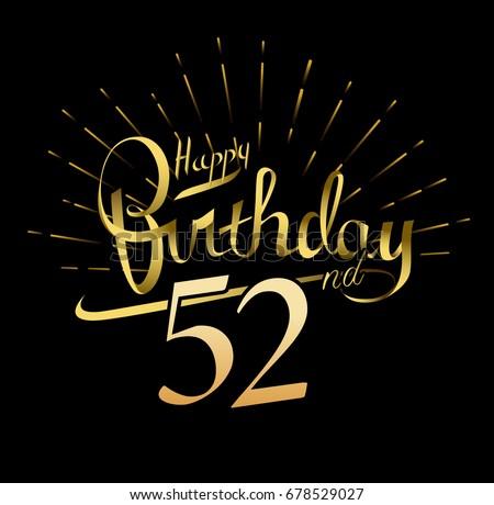 52nd Happy Birthday Logo Beautiful Greeting Stock Vector