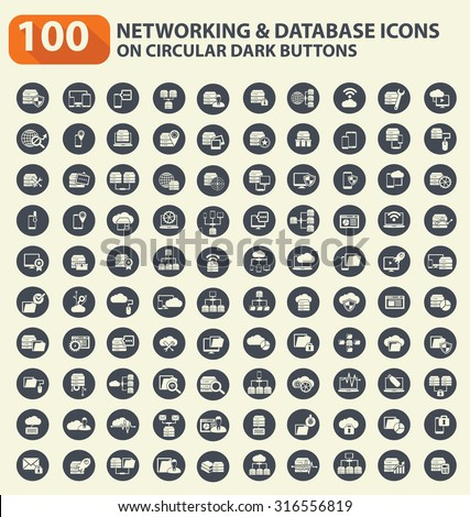 100 Networking,database server and technology icon set on buttons,clean vector - stock vector