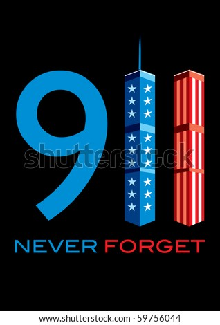 911 Never Forget - World Trade Centre with American Flag - stock vector