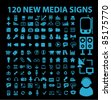 120 new blue media signs, icons, vector illustrations - stock vector