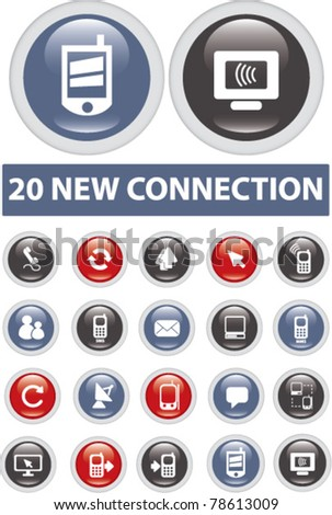 20 new connection buttons, vector - stock vector