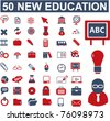 50 new education & school, science icons, signs, vector illustrations - stock vector
