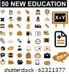 50 new education signs. vector - stock photo