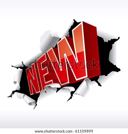 """""""NEW"""" Inscription Break Through White Background. Vector Illustration - stock vector"""