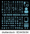 120 new media blue icons, signs, vector illustrations - stock vector