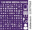 120 new media icons set, vector - stock photo