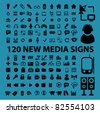 120 new media icons, signs, vector illustrations - stock vector