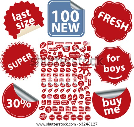 100 new red shopping stickers. vector - stock vector