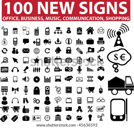 100 new signs: business, communication, media. vector