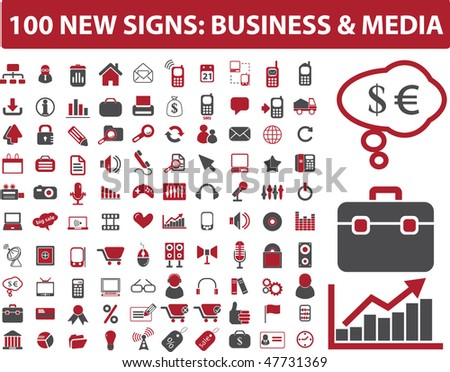 100 new signs: business & media signs. vector - stock vector