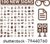 100 new signs, icons, vector - stock vector