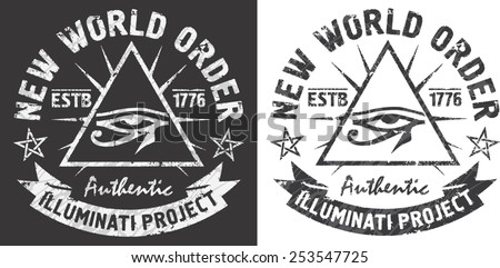 'New world order' artworks for t-shirt and poster.All seeing eye of Horus in a triangle. - stock vector