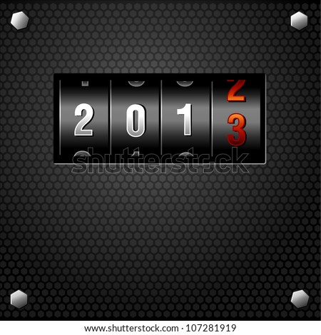 2013 New Year Analog Counter - stock vector