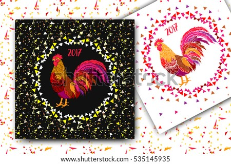 New year  background. Two Fire Rooster greeting cards, invitation. Symbol of 2017 on the Chinese calendar. Golden confetti background. Vector illustration.