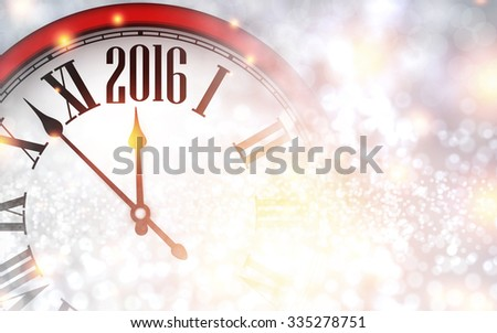 2016 New Year background with clock. Vector paper illustration. - stock vector