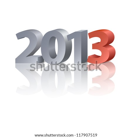 2013 New Year banner,  letters on the white background