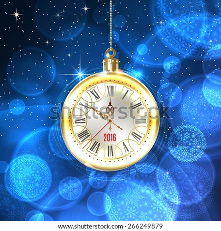 2016 new year. Beautiful, vintage clock hands show 10 minutes to midnight. Holidays card. Time to celebrate. Place your text at the bottom. Vector illustration and photo image available. - stock vector