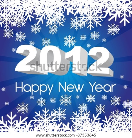 2012 new year, blue background with snowflakes. vector - stock vector