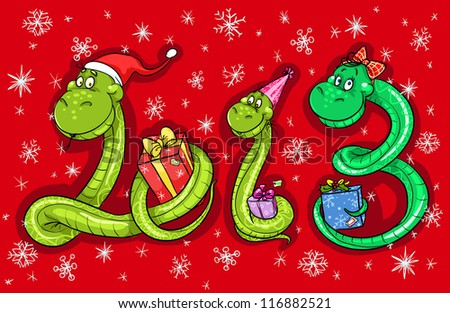 2013 new year card, calendar cover illustration with cartoon snake family. (12 months illustrations are also available in portfolio) - stock vector