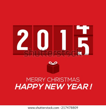 2015 New Year Card Odometer Style Vector Illustration - stock vector