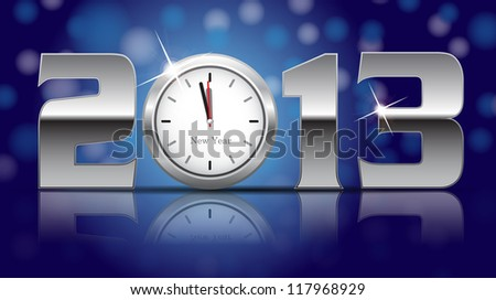 2013 New Year Card - shining metal digits with clocks instead of number zero- vector illustration - stock vector