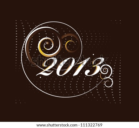 2013 new year card with curl - stock vector