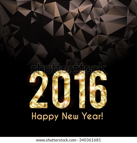 2016 New Year card with geometric background - stock vector