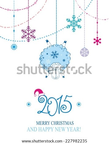 2015 new year card with nice owl and snowflakes. Vector illustration