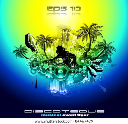 2012 New Year celebration background for music night disco Flyer or poster with a speaker elements and rainbow colours. - stock vector