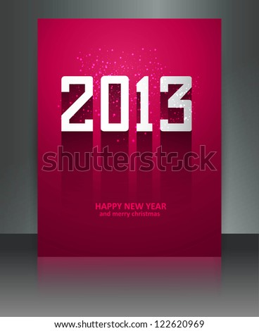 2013 new year celebration colorful brochure reflection vector - stock vector