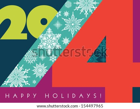 2014 New Year. Colorful Greetings Card. Happy Holidays. Stylish design. Vector EPS 10 illustration.  - stock vector