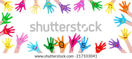 2015new year colorful smiley hands  - stock vector